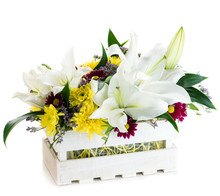 Gift Box With Fresh Lily Flowe...