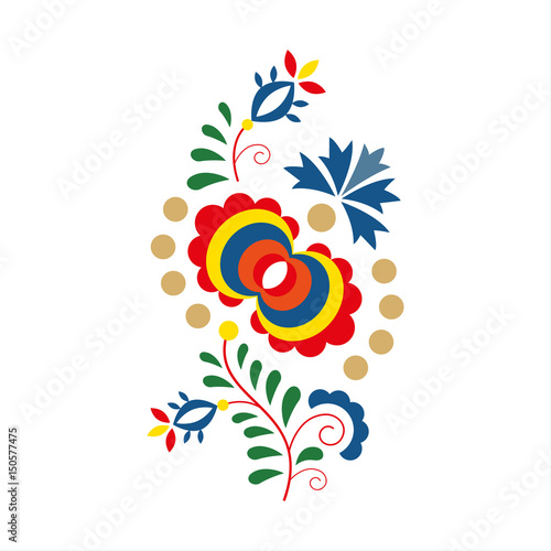Fotografija  Traditional folk ornament and pattern, floral embroidery symbol isolated on whit