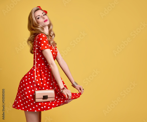 5f78f38b7 PinUp Sensual Blond Girl Having fun.Fashion Woman Smiling in Red Polka Dots Summer  Dress. Stylish Curly hairstyle