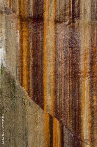 Foto op Plexiglas Wand Usa, Michigan. Mineral seep wall detail along shore of Lake Superior, Pictured Rocks National Lakeshore.