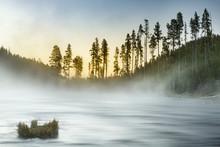 Gibbon River At Sunrise, Yellowstone National Park (Wyoming, Montana)