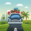 couple car baggage travel vacation road landscape city background vector illustration