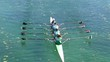 Four women rowing on the tranquil lake, full hd, slow motion video