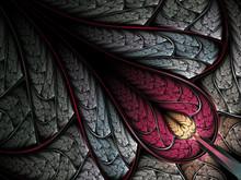 Red Tear Shaped Fractal Leaf, Digital Artwork For Creative Graphic Design