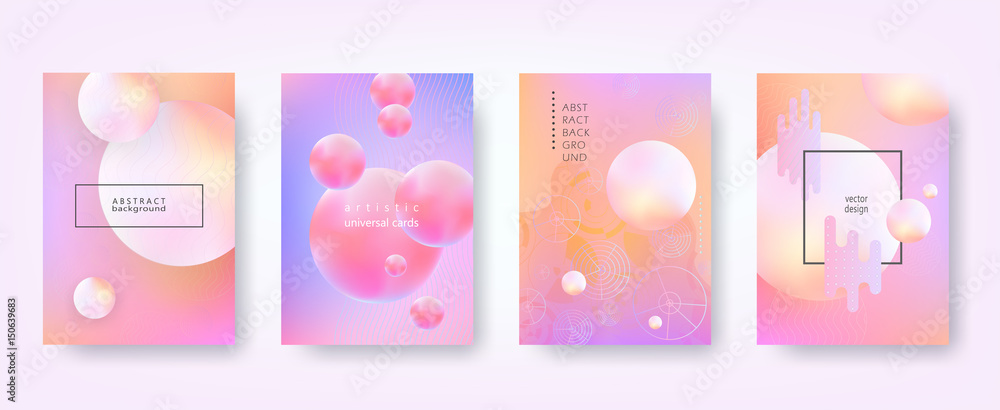 Fototapeta Abstract vector backgrounds in trendy hipster style with blurry fluid 3d forms and elements of memphis style. Template А4 for design poster, banner, flyer, cover, placard, magazine, book, presentation