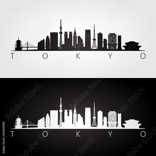 Photo  Tokyo, Japan skyline and landmarks silhouette, black and white design
