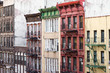Colorful old buildings along a block in Chinatown in Manhattan, New York City