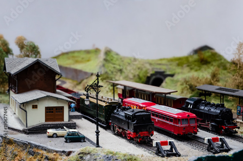 close up of a detailed train model diorama - Buy this stock