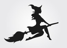 Silhouette Of A Witch Flying O...