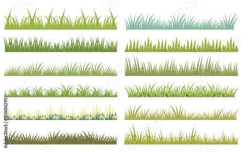 Fototapeta Horizontal vector cartoon green grass with texture on white background obraz na płótnie