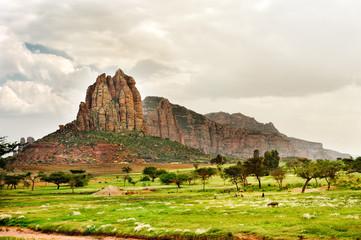 Fototapeta na wymiar Landscape shot in Tigray province, Ethiopia, Africa