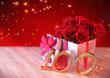 Leinwanddruck Bild - birthday concept with red roses in gift on wooden desk. hundredth. 100th. 3D render