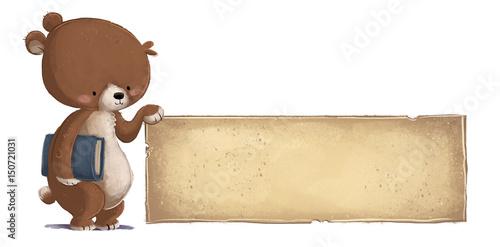 Photo oso con libro y cartel