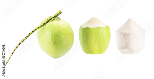 Coconut collection isolated on white background Poster