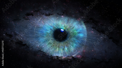 Foto op Aluminium Iris open eye in space