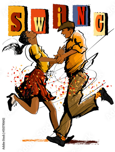 Stickers pour porte Art Studio Woman and man dancing swing