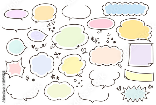 Obraz na plátně  ガーリーな手描きふきだしセット(カラー)