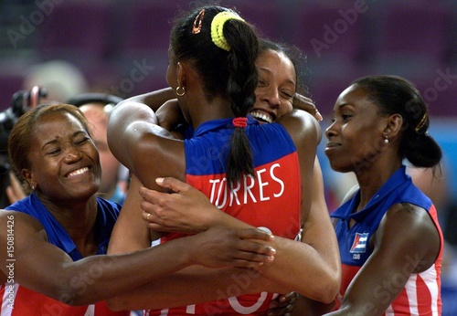CUBAN PLAYERS CELEBRATE AT OLYMPIC VOLLEYBALL SEMIFINAL IN