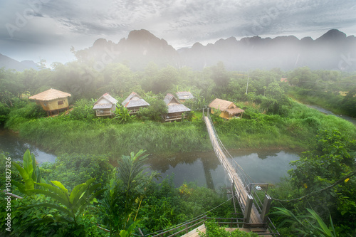 Foto  Village and mountain in Vang Vieng, Laos