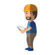 Worker man cartoon icon vector illustration graphic design