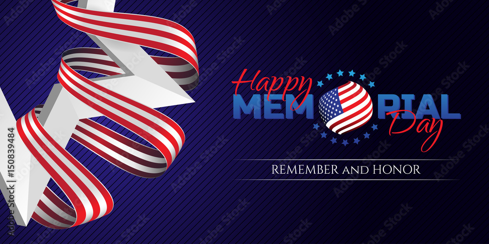 Fototapety, obrazy: Happy Memorial Day greeting card with national flag colors ribbon and white star on dark background. Remember and honor. Can be used for design your website or print publications and other.