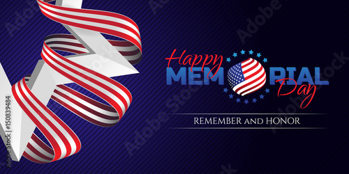 Fotomural Happy Memorial Day greeting card with national flag colors ribbon and white star on dark background