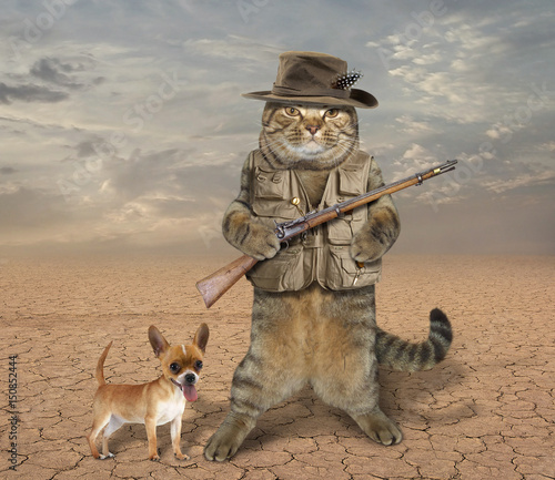 Photo  The cat hunter is holding a real rifle. His dog is next to him.