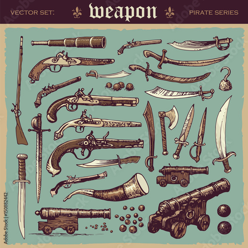 Illustrated vector set of old pirate weapons Canvas Print