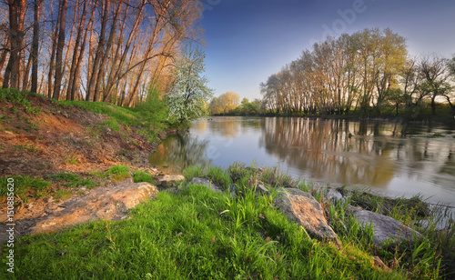 Printed kitchen splashbacks River Spring river morning landscape.