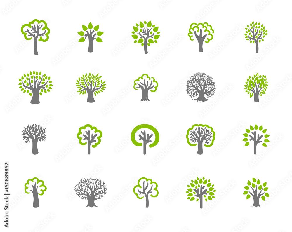 Fototapety, obrazy: Tree icon set