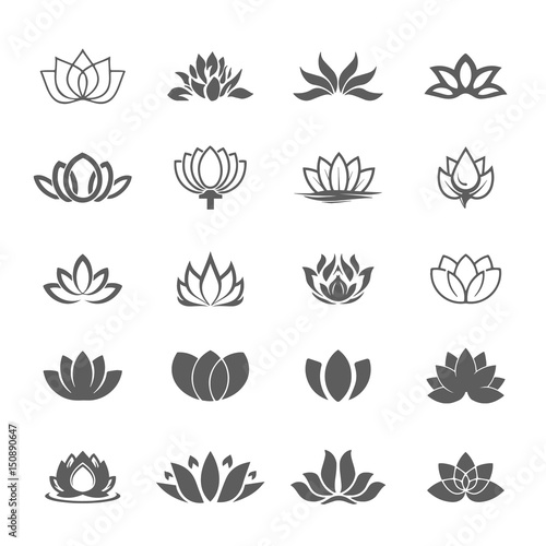 Abstract Vector Lotus Flower Symbol Icon Set Buy This Stock