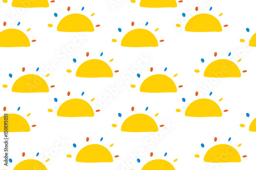 Fotomural Seamless pattern with little cartoon suns