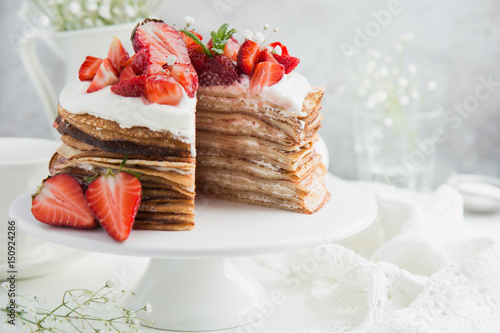 strawberry and ricotta crepes cake Wallpaper Mural