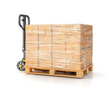 Hand Pallet Truck. Manual Forklift. 3d Illustration