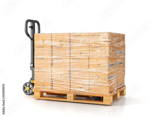 Cuadros en Lienzo Hand pallet truck. Manual forklift. 3d illustration