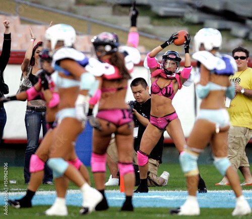 8ab257da8 Marcus-Kahn celebrates after a touchdown at the Lingerie Bowl in Los Angeles