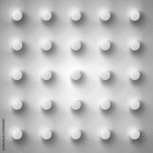 Volume realistic gray embossing texture, depressed circles background, 3d geomet Fototapet