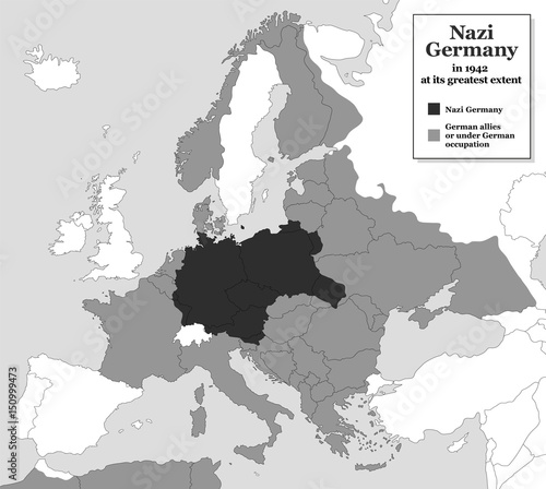 Fotografía  Nazi Germany at its greatest extent during WWII in 1942 - with german allies and states under german occupation