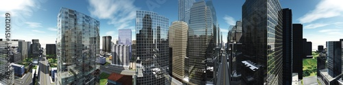 Panorama of a modern city, panorama of skyscrapers, 3d rendering Canvas