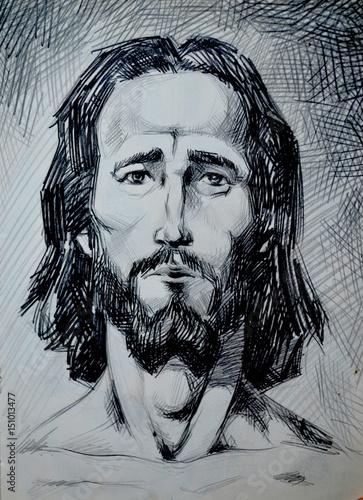 jesus christ portrait graphical illustration st person pencil