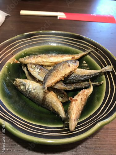 Fotografie, Obraz  yummy grilled fish capelin on Japanese plate