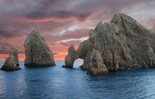 Beautiful Large Rocks In Ocean At Sunset Los Cabos Mexico