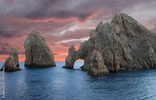 Beautiful large rocks in ocean at sunset Los Cabos Mexico Wallpaper Mural