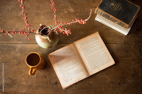 Fototapeta book and coffee on vintage table