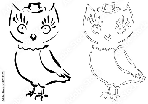 doodle owl for coloring print, souvenirs; stamps; notebooks ...