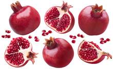 Pomegranate Set Selection Isolated On White Background
