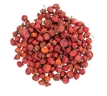 Dried Rose Hips.  Pile Of Dogrose. Berry Rose Hips