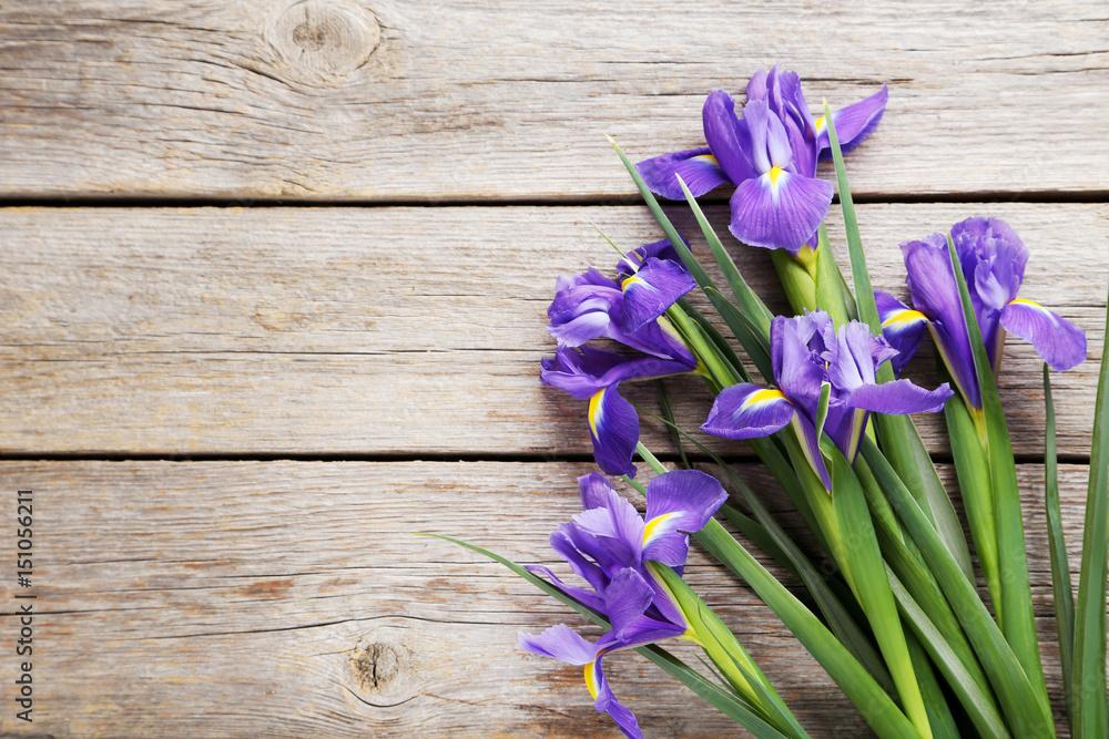 Fototapeta Bouquet of iris flowers on grey wooden table