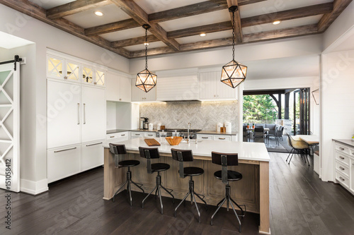 Beautiful Kitchen in New Luxury Home with Island, Cross Hatch Wood on