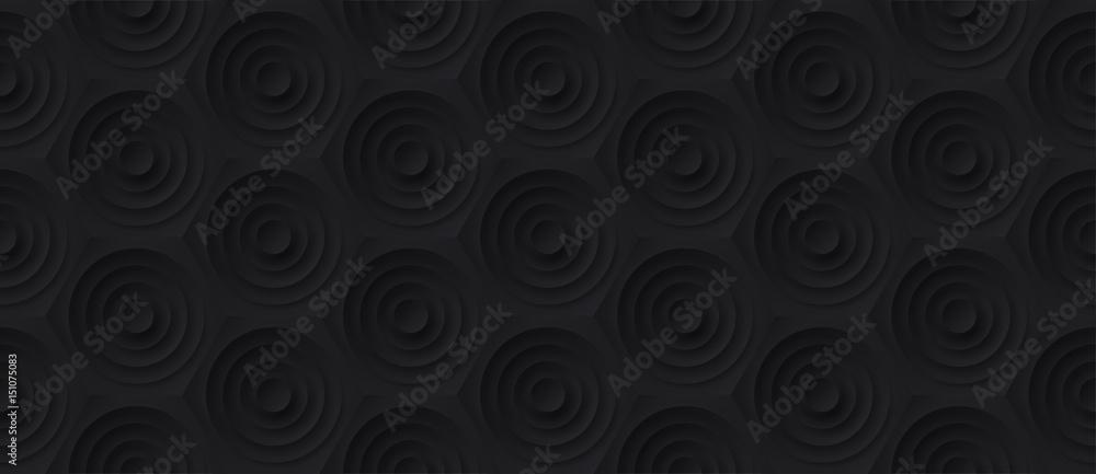 Volume realistic embossing texture, circles сut in honeycomb, black background, 3d geometric seamless pattern, design vector dark wallpaper